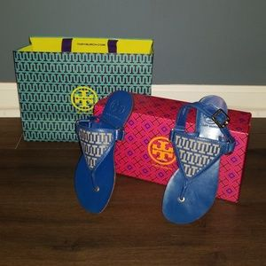 TORY BURCH BLUE LEATHER SIGNATURE SANDAL 6 NEW!